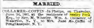 Waterloo Observer 6-22-1881 Coffin-Collamer Wedding
